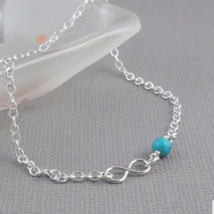 Silver Infinity Anklet with Turquoise color Bead